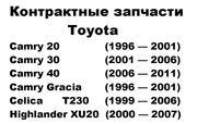 Toyota Camry Highlander Celica Gracia запчасти из США и Японии